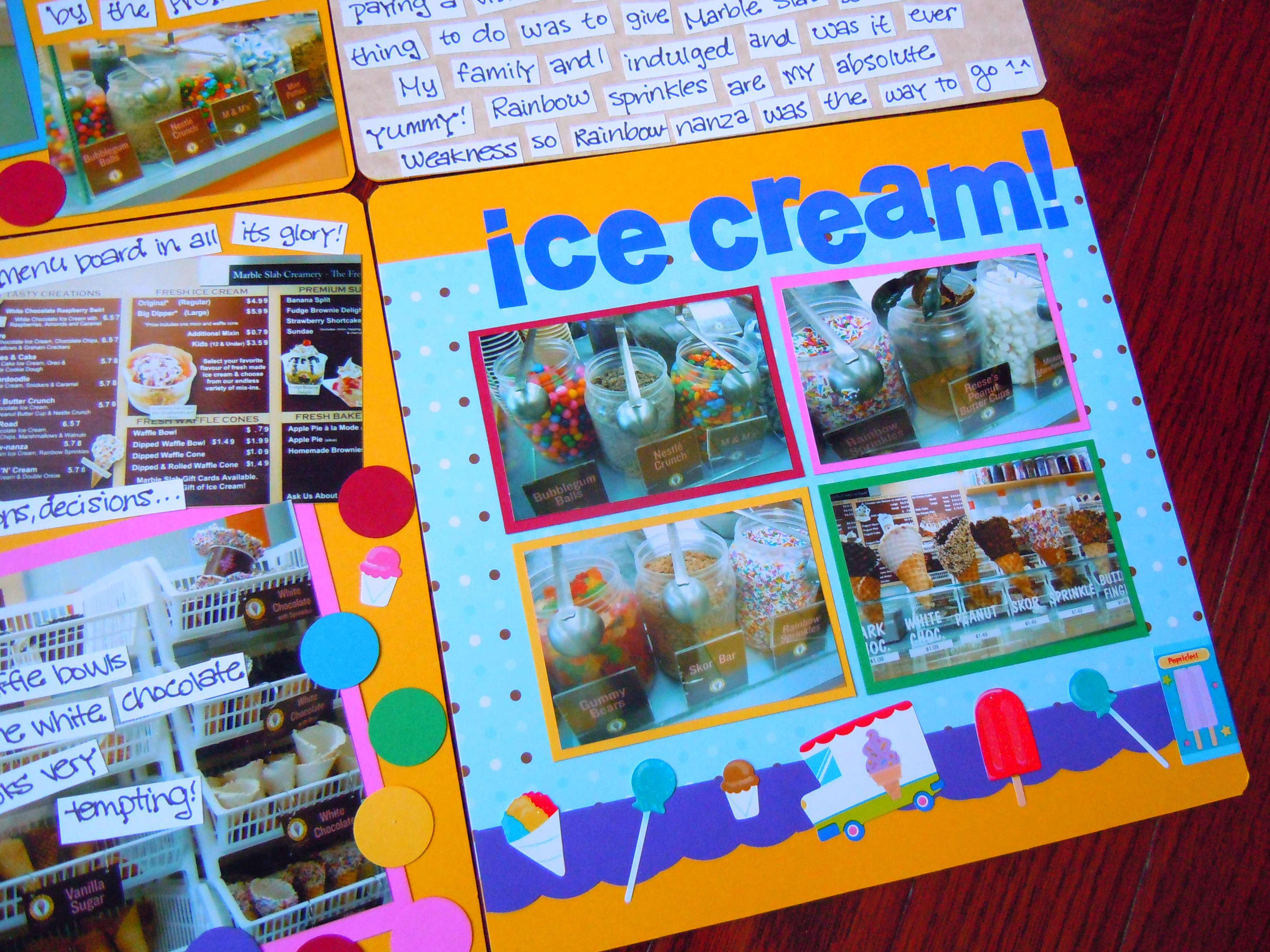 Scrapbook ideas rainbow - The Rainbow Esque Scrapbook Layout Of The Marble Slab Creamery Photos I Just Shared With You All Punching Out Circles Of Paper In A Rainbow Of Colours And