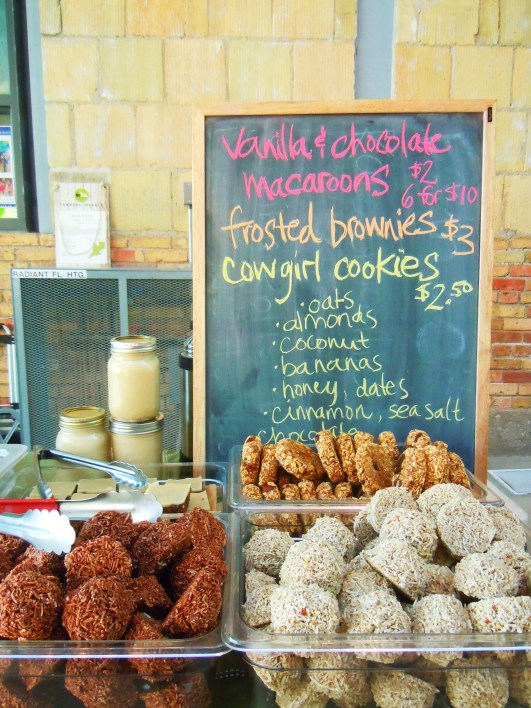 vegan desserts by Earth & City at Wychwood Barns farmers' market