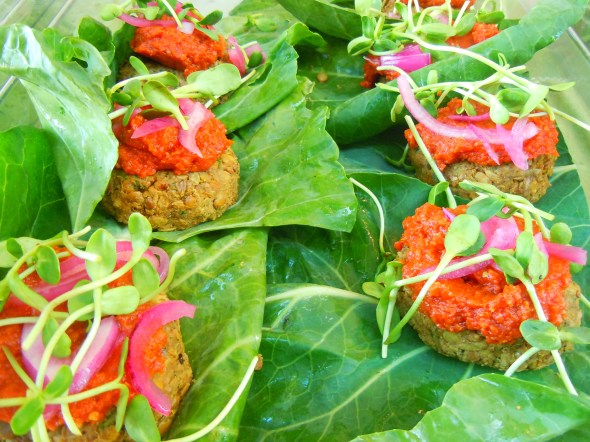 lentil-walnut vegan burgers by Earth & City at Wychwood Barns farmers' market