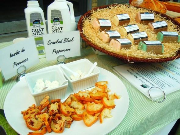 Crosswind Farm goat cheese at Wychwood Barns farmers' market