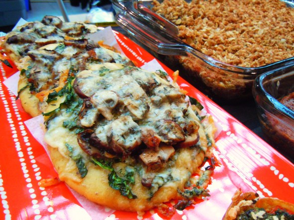 mushroom gluten-free pizzas by Delish Kitch at Wychwood Barns farmers' market