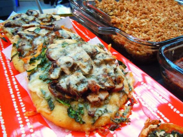 mushroom gluten-free pizzas by Delish Kitch at Wychwood Barns farmers' market