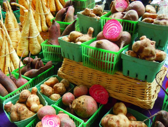 Root vegetables at Wychwood Barns farmers' market