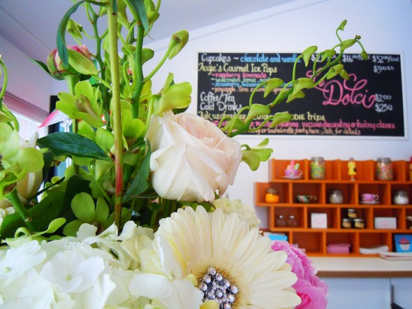 Flowers and cupcakes at Le Dolci on Dundas Street West in Toronto.