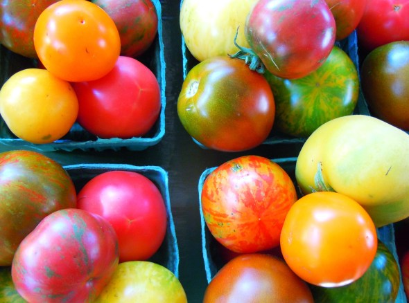 heirloom tomatoes at North York and Mel Lastman Square farmers market