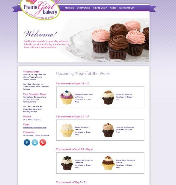 Treats of the Week web page at Prairie Girl Bakery in Toronto