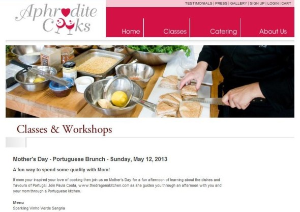 aphrodite cooks. mother's day brunch