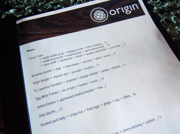 Origin Restaurant menu Toronto