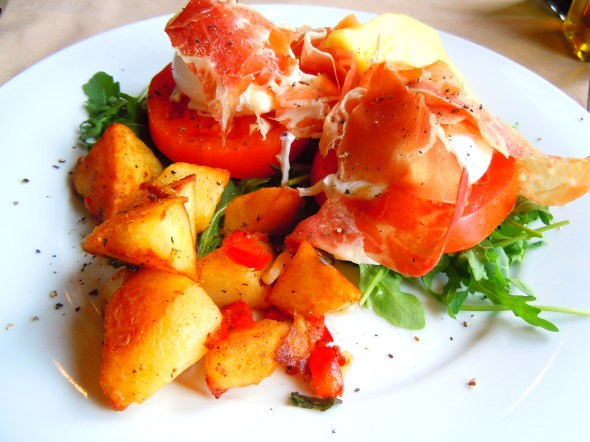 poached eggs benedict weekend brunch with prosciutto and arugula at La Vecchia